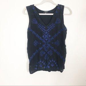 Lucky Brand Black w/ Blue Beaded Tank Blouse